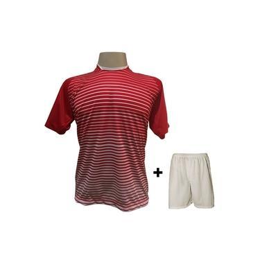 Uniforme Esportivo com 18 camisas modelo City Vermelho/Branco + 18 calções modelo Madrid + 1 Goleiro +