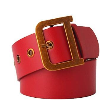 SOIMISS Cinto para Senhoras Moda Retro Dourado Fivela Cinto Largo Vestido Calça Cinto Cinto Sólido (Vermelho)