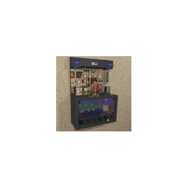 Imagem de Barzinho top com caixa de som 5 - 6 adegas, cristaleira, Iluminação LED rgb - Bar23 preto