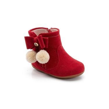 Bota Infantil Klin Mini Miss 039 Vermelho Bota veludo quentinha confortável