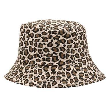 SOIMISS 1 Pc Estampa de Leopardo Pescador Balde Chapéu Chapéu de Sol de Praia Chapéu de Aba Larga Verão Ao Ar Livre para Mulheres Dos Homens (Cáqui)