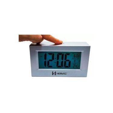 66a24422c26 Relogio Despertador Digital Luz Temperatura Herweg 2972 070 Prata