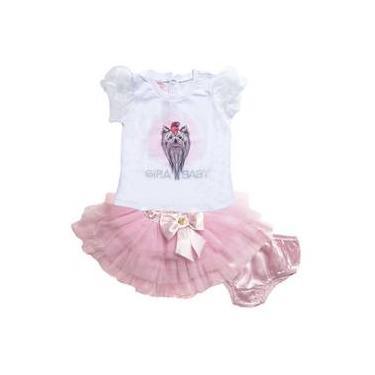 Camiseta Cachorrinho Saia Tutu E Calcinha Rosa Menina