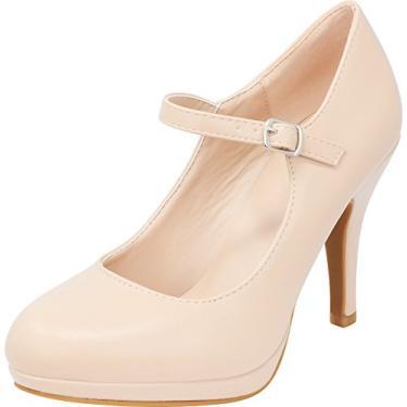 Cambridge Select Mary Jane Sapato feminino fechado bico redondo com fivela plataforma salto alto, Nude Pu, 7