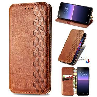 XYX Capa carteira para LG Stylo 7 5G, [Diamante em relevo][Fecho magnético] Capa para celular de couro PU premium compatível com LG Stylo 7 5G, marrom