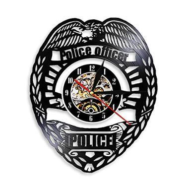 Imagem de Relógio com tema de música de escritório de polícia, presente para amantes de música, homens, mulheres, adolescentes e crianças, arte com tema vintage exclusivo, preto, 30 cm