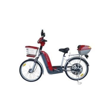 Imagem de Bicicleta Elétrica Veloster 350w Com Bagageiro E Baú vermelho
