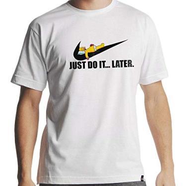 Camiseta Homer Simpson Nike Just Do It Hipsters Camisetas Tamanho:G;Cor:Branco