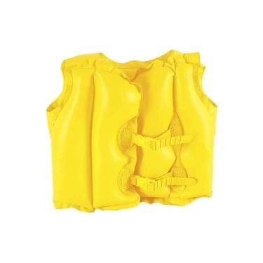 Colete Inflável Infantil em PCV Resistente MOR Piscina Praia Amarelo - Com KIT Reparo