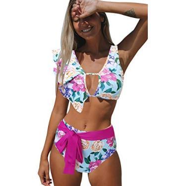 Biquíni feminino Sporlike com babados, cintura alta, duas peças, estampa tropical push up, Floral/Rose Red, Large