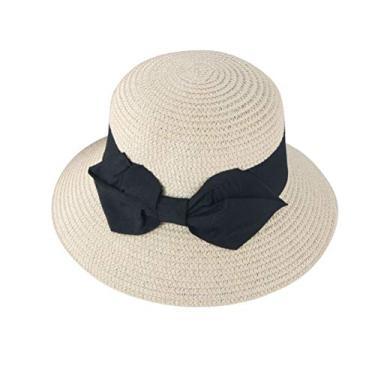 PRETYZOOM Chapéu de palha de praia chapéu de sol com laço para decoração de primavera e verão ao ar livre (bege, criança)
