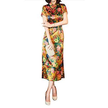 Imagem de HangErFeng Vestido Qipao Cheongsam feminino de seda com estampa tradicional chinesa, Dourado, XG