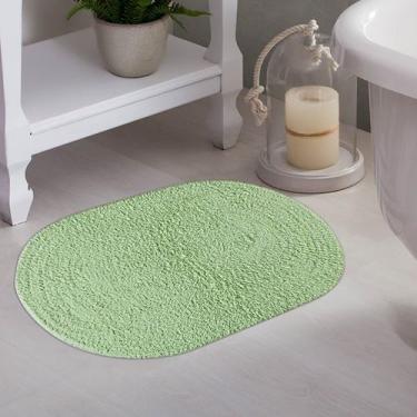 Imagem de Tapete De Banheiro Oval Myssi Verde - Corttex