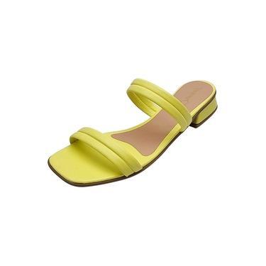 Tamanco Rasteiro com Tiras - Amarelo