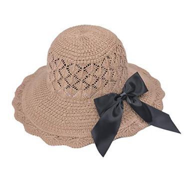 SOIMISS chapéu de praia dobrável chapéu respirável chapéu de palha de palha do sol chapéu de proteção sol resistente ao sol para mulheres meninas (cáqui)