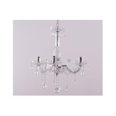 Lustre de Vidro e Cristal K5 Maria Tereza para 3 Lamp.e14 Braço de Acrilico F450*h500mm Transparente - 3014 Adn Mais