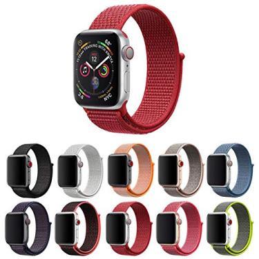 Pulseira Nylon Loop para Apple Watch 40mm e 38mm Series 1 2 3 4 5 - Marca Ltimports (Vermelho)