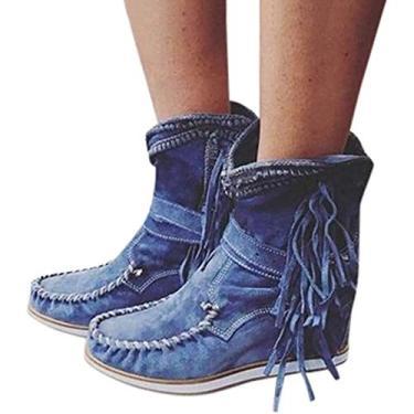Imagem de PLAYH Botas femininas de cano baixo com franja, botas femininas de camurça cano baixo, botas femininas modernas no tornozelo casual bota curta Chelsea (cor: azul, tamanho: 39)