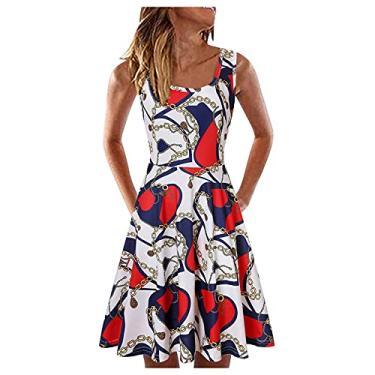 Imagem de SLENDIPLUS Vestido feminino de verão sem mangas gola em U vestido evasê estampado moda solto casual praia - 20 estilos, #019:branco, XXG