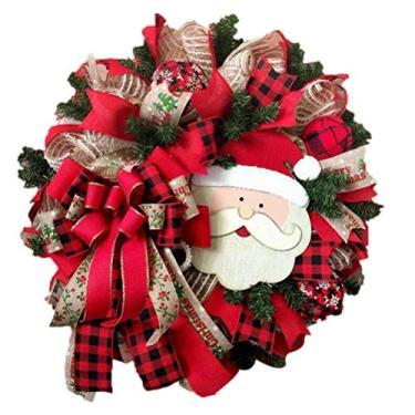 Imagem de Guirlanda de Natal, guirlanda de porta de Papai Noel, guirlanda de Natal para decoração de Natal guirlanda artificial para decoração de Natal