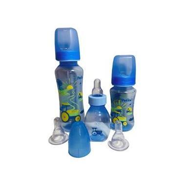 Imagem de Kit com 3 Mamadeiras Bebê Com Bicos de Silicone Azul e Rosa