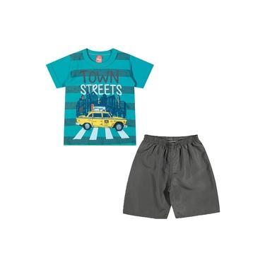 Conjunto Infantil Elian 01 a 08 Anos Camisa e Bermuda Town Streets Verde