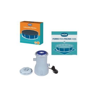Kit Filtro 2200 L/h + Capa + Forro Para Piscina 5500 Litros - Mor