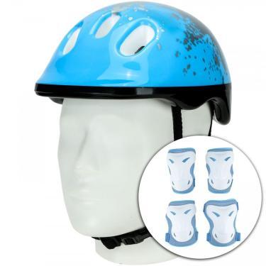 Kit Proteção para Bike Spin Radical com 1 Par de: Joelheiras + Cotoveleiras + 1 Capacete - Infantil Spin Roller Unissex