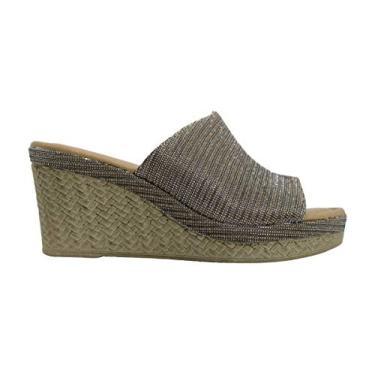 Imagem de Easy Street sandália feminina Octávia de tecido aberto nos dedos Ocasião especial Plataforma, Bronze Glitter, 5.5