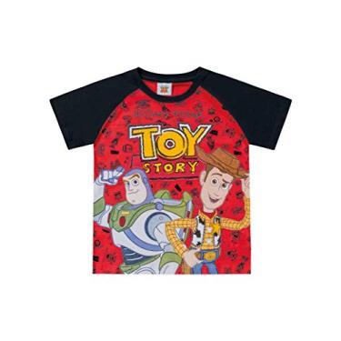 Camiseta Manga Raglan Toy Story Atoalhadas, Fakini, Meninos, Vermelho, 1