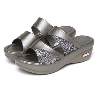 Sandálias Das Mulheres,Baugger Mulheres Desgaste do verão de moda Plataforma de fundo grosso Sapatos de salto de cunha Senhoras Sandálias de boca de peixe Chinelos (Cinza 43)