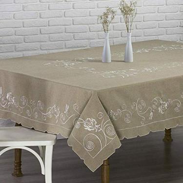 Imagem de Toalha de mesa Alice bordada redonda para 4 ou 6 lugares marrom - Rafimex