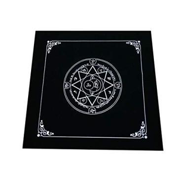 Imagem de angwang Toalha de mesa de cartas de jogo, 50 x 50 cm, toalha de mesa de flanela, cartões de adivinhação, tapeçaria, quadrada, decoração de mesa, estrela de oito pontas