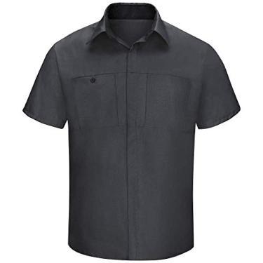 Imagem de Red Kap Camisa masculina Performance Plus Shop com tecnologia Oilblok, Carvão com malha preta, 5XG