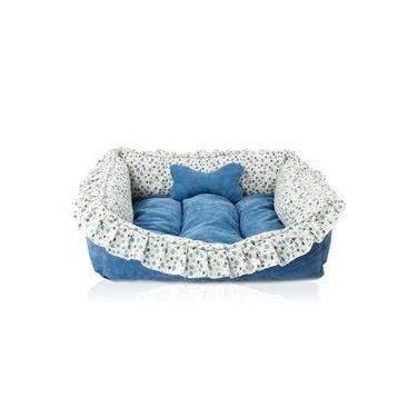 Caminha Pet Super Luxo 65 X 55cm Azul Pelúcia