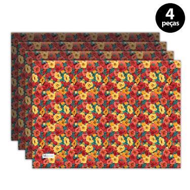 Imagem de Jogo Americano Mdecore Floral 40x28 cm Vermelho 4pçs