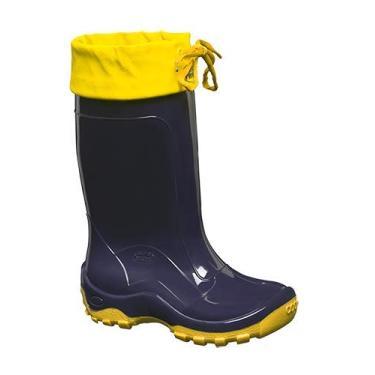 Bota Cano Longo Infantil C/Amarra Azul/amarelo N°24/5