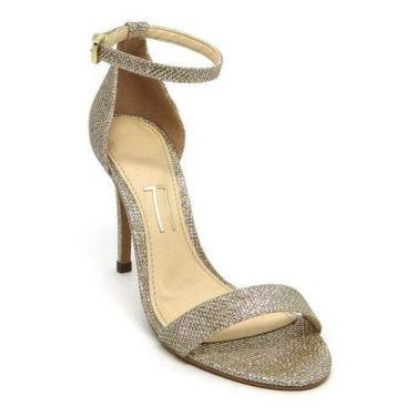 Sandália Salto Alto Fino Prata Brilho Tira Faixa Glitter