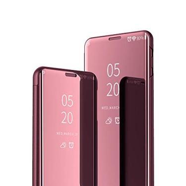 JZ [Design espelhado][Suporte] Capa compatível com Motorola Moto G9 Plus Smart Mirror Wallet Flip Cover - Ouro rosa