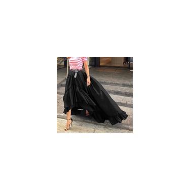 Vestido feminino saia longa assimétrica cintura alta babado swing casual maxi saia plus size Preto L