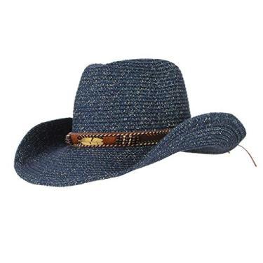 kowaku Chapéu de Palha de Cowboy Estilo Ocidental Verão Aba Larga Masculina Feminino Chá Chapéu Acetinado - Marinha