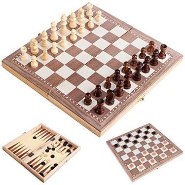 Xadrez Internacional, Andoer Conjunto de xadrez de madeira multifuncional 3 em 1 Jogo de xadrez dobrável Jogos de viagem Jogo de damas de xadrez Jogo de damas e gamão Entretenimento Brinquedos educat