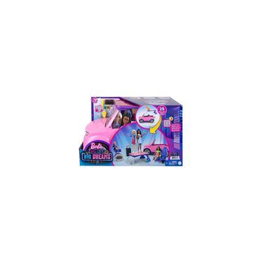 Imagem de Barbie: Big City, Big Dreams Transforming Vehicle Playset, Pink 2-Seater suv revela palco, bateria e acessórios com tema de concertos, presente para crianças de 3 a 7 ano Importado