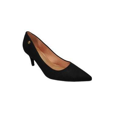 Sapato Feminino Scarpin Vizzano Salto Baixo 1325100 Preto Camurça