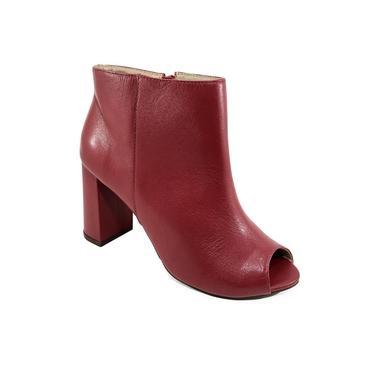 Imagem de Ankle Boot Couro Capodarte Salto Grosso Feminina - Vermelho