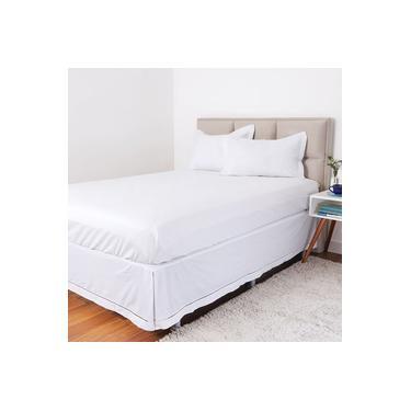 Imagem de Saia Para Cama Box Solteiro Ponto Palito 100% Algodão - Casa & Conforto