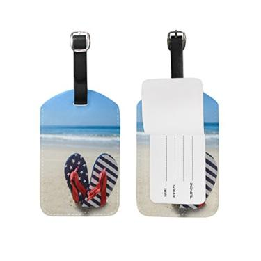 Cooper Girl Sea Beach Flip Flop Bagagem Etiqueta de Viagem Identificação Couro para Mala de Bagagem 1 Peça