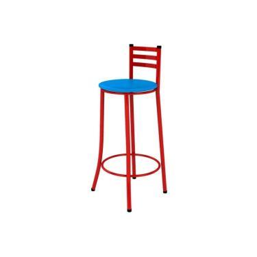 Banqueta Alta com Encosto Vermelho e Assento Azul - Marcheli