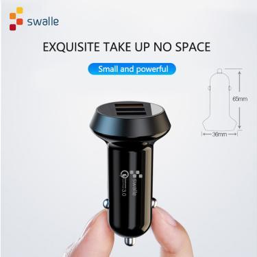 Swalle super mini carregador de carro usb carga rápida 3.0 para o iphone x 8 telefone 18 w