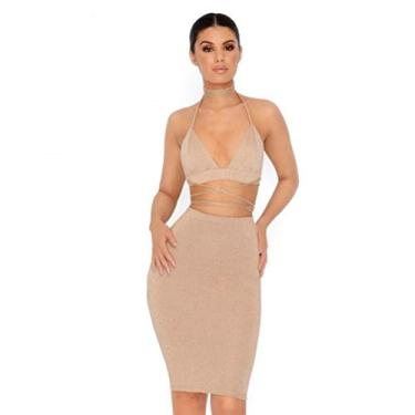 Imagem de Vestido feminino sexy com glitter e gola V frente única no quadril sem mangas bandagem colado ao corpo, Dourado, M